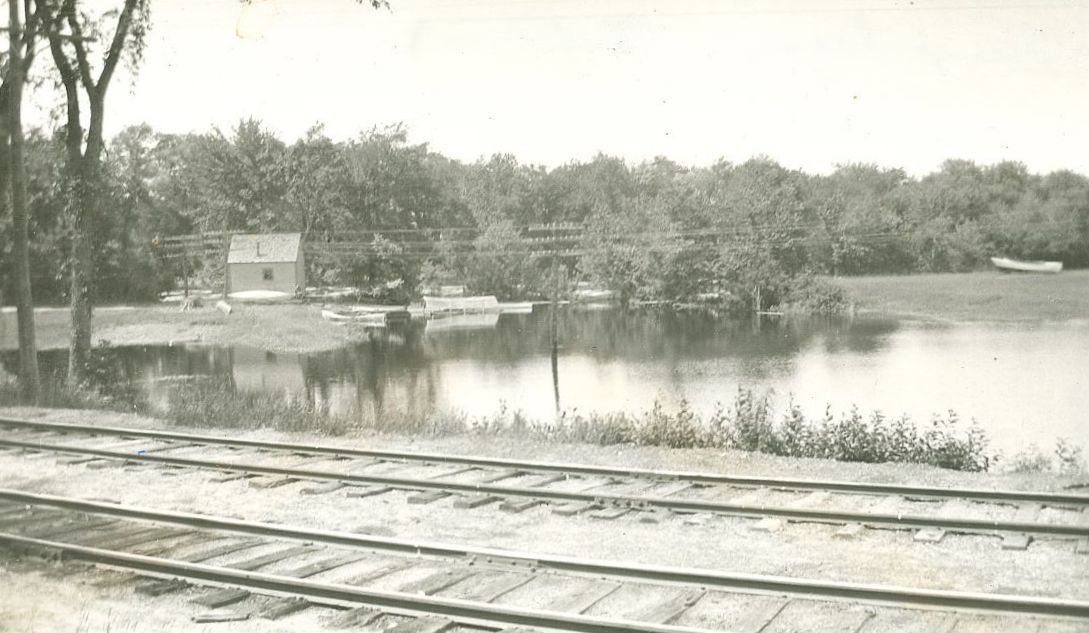 Image of what is believed to be the Tramp House that was located near the Contoocook Depot.  The tramp house was located where the Contoocook Riverway Park is located today.  The shoreline in the image does not match up with the shoreline today due to changes in the flow of the Contoocook River following construction of the Hopkinton-Everett Dam.